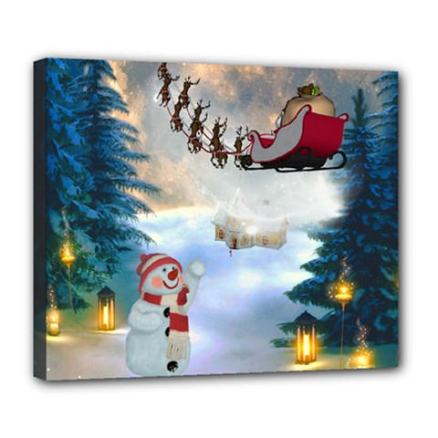 Christmas, Snowman With Santa Claus And Reindeer Deluxe Canvas 24  X 20   by FantasyWorld7