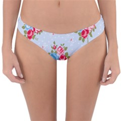 Cute Shabby Chic Floral Pattern Reversible Hipster Bikini Bottoms by 8fugoso