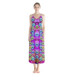 Festive Metal And Gold In Pop Art Button Up Chiffon Maxi Dress by pepitasart