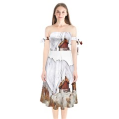 French Coffee Style Abstract Art Shoulder Tie Bardot Midi Dress by Love888