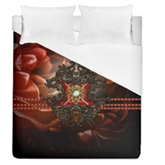 Wonderful Floral Design With Diamond Duvet Cover (queen Size) by FantasyWorld7