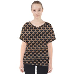 Scales3 Black Marble & Light Maple Wood V Neck Dolman Drape Top by trendistuff