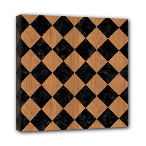 Square2 Black Marble & Light Maple Wood Mini Canvas 8  X 8  by trendistuff