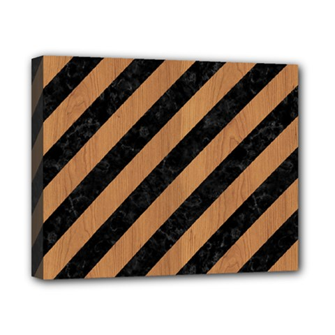 Stripes3 Black Marble & Light Maple Wood Canvas 10  X 8  by trendistuff