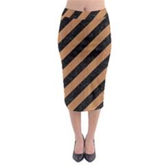 Stripes3 Black Marble & Light Maple Wood Midi Pencil Skirt by trendistuff