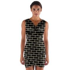 Brick1 Black Marble & Light Sand Wrap Front Bodycon Dress by trendistuff