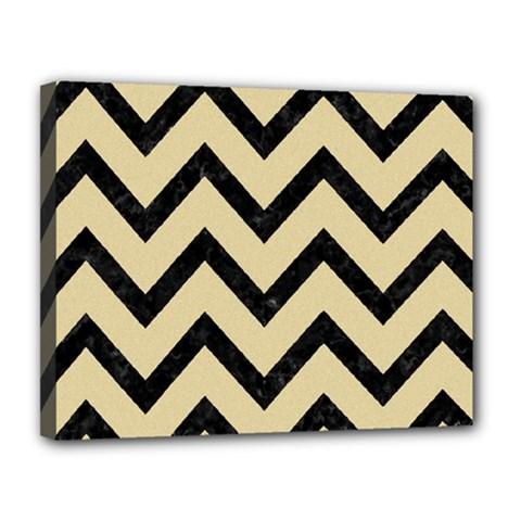 Chevron9 Black Marble & Light Sand (r) Canvas 14  X 11  by trendistuff