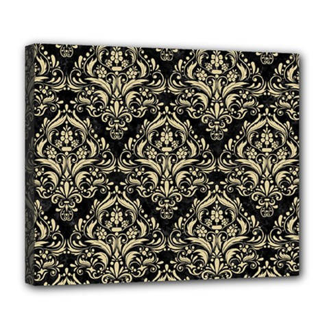 Damask1 Black Marble & Light Sand Deluxe Canvas 24  X 20   by trendistuff