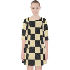 Square1 Black Marble & Light Sand Pocket Dress by trendistuff