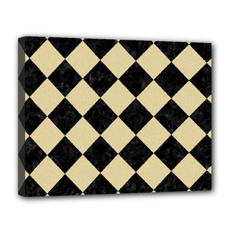 Square2 Black Marble & Light Sand Canvas 14  X 11  by trendistuff