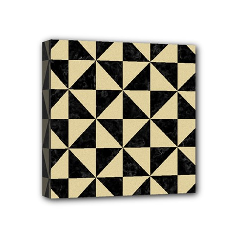 Triangle1 Black Marble & Light Sand Mini Canvas 4  X 4  by trendistuff
