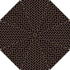 Brick2 Black Marble & Natural Red Birch Wood Hook Handle Umbrellas (small) by trendistuff