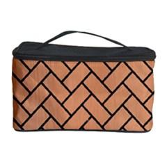 Brick2 Black Marble & Natural Red Birch Wood (r) Cosmetic Storage Case by trendistuff