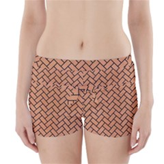 Brick2 Black Marble & Natural Red Birch Wood (r) Boyleg Bikini Wrap Bottoms by trendistuff