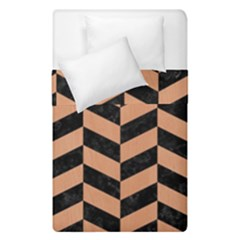 Chevron1 Black Marble & Natural Red Birch Wood Duvet Cover Double Side (single Size) by trendistuff