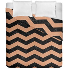 Chevron3 Black Marble & Natural Red Birch Wood Duvet Cover Double Side (california King Size) by trendistuff