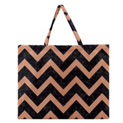Chevron9 Black Marble & Natural Red Birch Wood Zipper Large Tote Bag by trendistuff