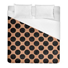 Circles2 Black Marble & Natural Red Birch Wood (r) Duvet Cover (full/ Double Size) by trendistuff