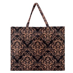 Damask1 Black Marble & Natural Red Birch Wood Zipper Large Tote Bag by trendistuff