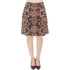 Damask2 Black Marble & Natural Red Birch Wood Velvet High Waist Skirt by trendistuff