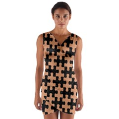 Puzzle1 Black Marble & Natural Red Birch Wood Wrap Front Bodycon Dress by trendistuff