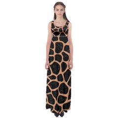 Skin1 Black Marble & Natural Red Birch Wood (r) Empire Waist Maxi Dress