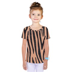 Skin4 Black Marble & Natural Red Birch Wood Kids  One Piece Tee by trendistuff
