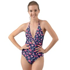 Flamingo Halter Cut Out One Piece Swimsuit by olgart