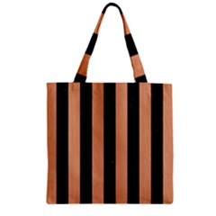 Stripes1 Black Marble & Natural Red Birch Wood Zipper Grocery Tote Bag by trendistuff