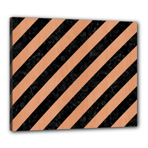 Stripes3 Black Marble & Natural Red Birch Wood Canvas 24  X 20  by trendistuff