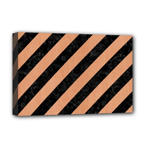 Stripes3 Black Marble & Natural Red Birch Wood Deluxe Canvas 18  X 12   by trendistuff