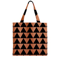 Triangle2 Black Marble & Natural Red Birch Wood Zipper Grocery Tote Bag by trendistuff