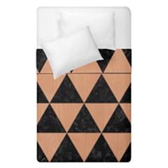 Triangle3 Black Marble & Natural Red Birch Wood Duvet Cover Double Side (single Size) by trendistuff