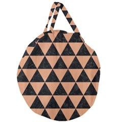 Triangle3 Black Marble & Natural Red Birch Wood Giant Round Zipper Tote by trendistuff