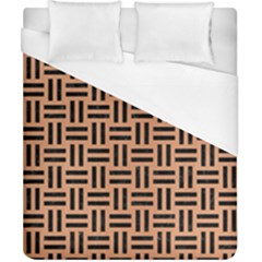 Woven1 Black Marble & Natural Red Birch Wood (r) Duvet Cover (california King Size) by trendistuff
