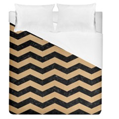 Chevron3 Black Marble & Natural White Birch Wood Duvet Cover (queen Size) by trendistuff