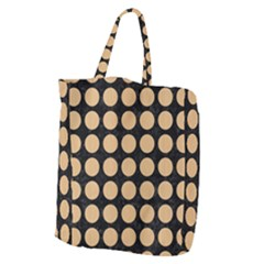 Circles1 Black Marble & Natural White Birch Wood Giant Grocery Zipper Tote by trendistuff