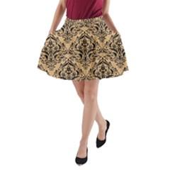 Damask1 Black Marble & Natural White Birch Wood (r) A Line Pocket Skirt by trendistuff