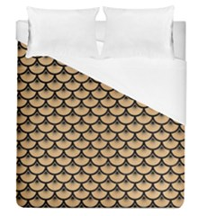 Scales3 Black Marble & Natural White Birch Wood (r) Duvet Cover (queen Size) by trendistuff
