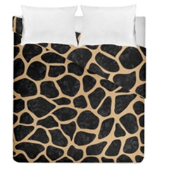 Skin1 Black Marble & Natural White Birch Wood (r) Duvet Cover Double Side (queen Size) by trendistuff
