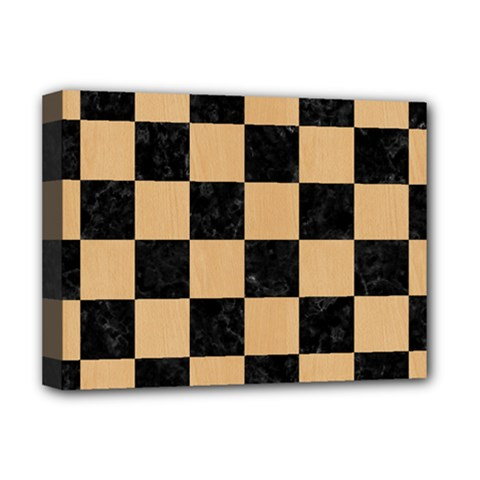Square1 Black Marble & Natural White Birch Wood Deluxe Canvas 16  X 12   by trendistuff