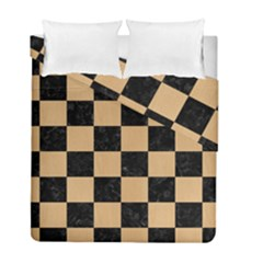 Square1 Black Marble & Natural White Birch Wood Duvet Cover Double Side (full/ Double Size) by trendistuff