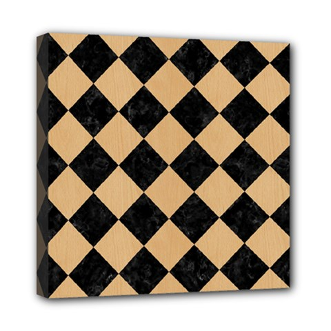 Square2 Black Marble & Natural White Birch Wood Mini Canvas 8  X 8  by trendistuff