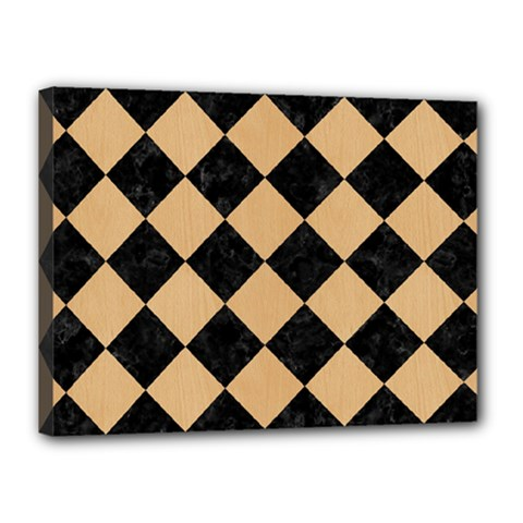 Square2 Black Marble & Natural White Birch Wood Canvas 16  X 12  by trendistuff