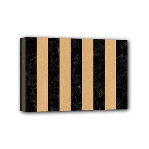 Stripes1 Black Marble & Natural White Birch Wood Mini Canvas 6  X 4  by trendistuff