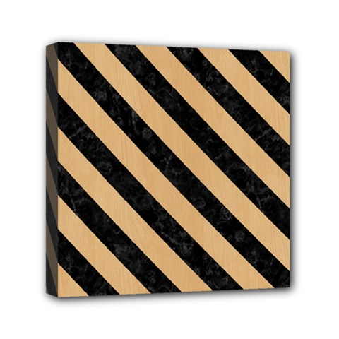 Stripes3 Black Marble & Natural White Birch Wood (r) Mini Canvas 6  X 6  by trendistuff