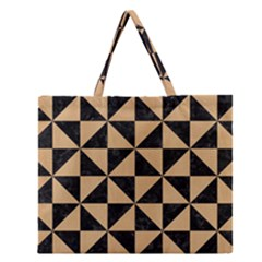 Triangle1 Black Marble & Natural White Birch Wood Zipper Large Tote Bag by trendistuff