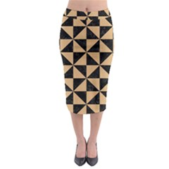 Triangle1 Black Marble & Natural White Birch Wood Midi Pencil Skirt by trendistuff