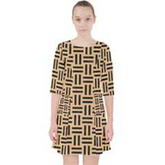 Woven1 Black Marble & Natural White Birch Wood (r) Pocket Dress by trendistuff