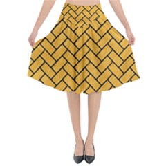 Brick2 Black Marble & Orange Colored Pencil (r) Flared Midi Skirt by trendistuff